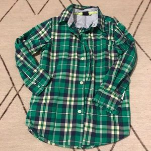 Green checkered button down shirt